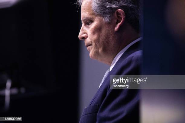 David Lipton acting managing director of the International Monetary Fund pauses while delivering a speech during the 75th anniversary of the Bretton...