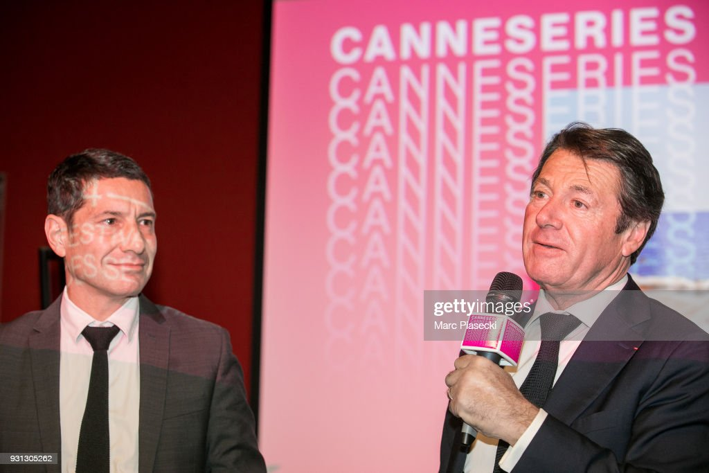 David Lisnard and Christian Estrosi attend the 'CanneSeries 2018' press conference on March 13, 2018 in Paris, France.