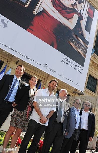 David Lisnard Contour by Getty Images' Clotilde Lecuillier photographer Marcel Hartmann Mayor of Cannes Bernard Brochand and guest attend the 'Cannes...