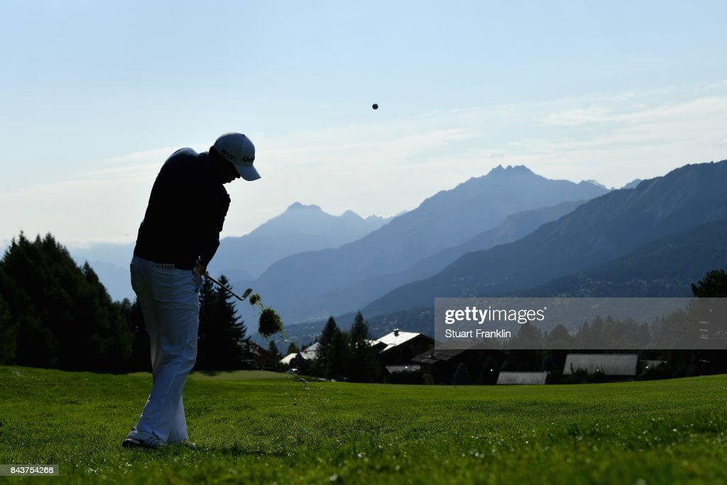 David Lisphy of The United States on the 14th during day one of the 2017 Omega European Masters at Crans-sur-Sierre Golf Club on September 7, 2017 in Crans-Montana, Switzerland.