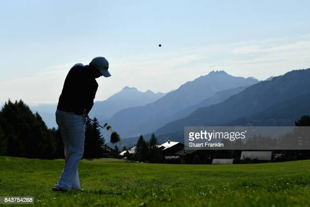 David Lisphy of The United States on the 14th during day one of the 2017 Omega European Masters at CranssurSierre Golf Club on September 7 2017 in...