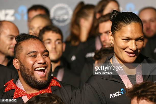 David Liti gold medal for Weightlifting and Dame Valerie Adams silver medal for Shot Put during the Welcome Home Function at Novotel on April 16 2018...