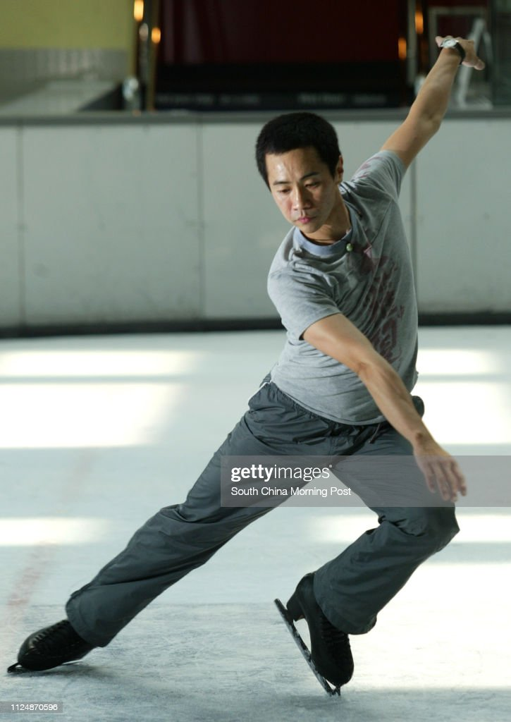 David Liu, Olympic skater from Taiwan  who will perform in The City Contemporary Dance Company's (CCDC) dance show PlazaX rehearsal   at Festival Walk ice rink. 12 October 2004. : News Photo