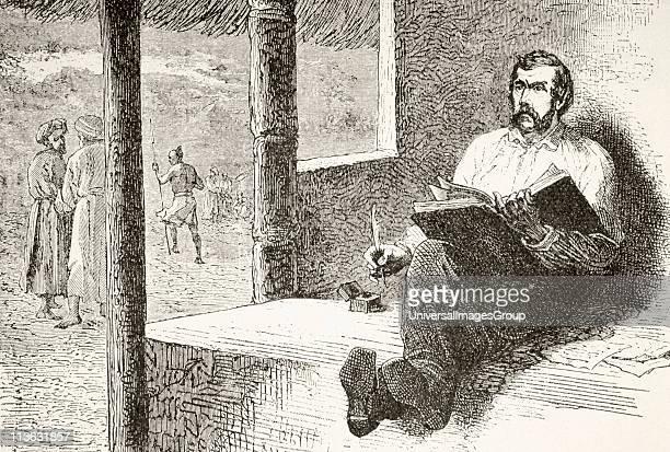 David Livingstone 1813 to 1873 Scottish missionary and explorer writing in his diary at Ujiji From Afrika dets Opdagelse Erobring og Kolonisation...