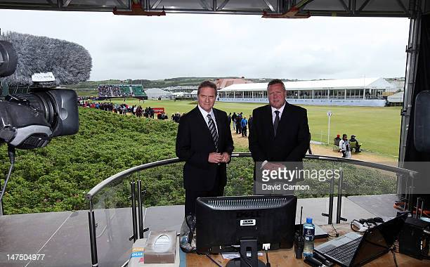 David Livingstone and Richard Boxall of Sky Television in the studio beside the 18th greenduring the final round of the 2012 Irish Open held on the...