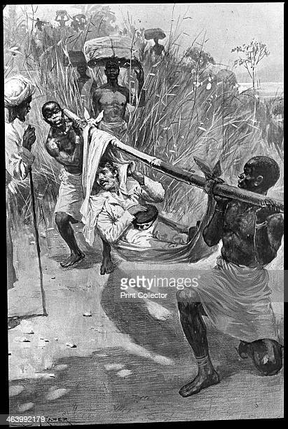 David Livingstone being carried on a makeshift stretcher through the jungle Africa 19th century Scottish missionary and explorer David Livingstone...