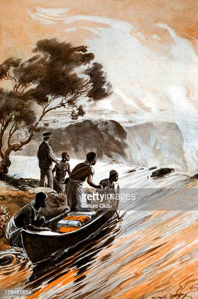 David Livingstone's discovery of the Victoria Falls Zambesi River 1855 Illustration by George Soper
