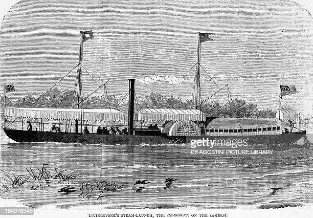 David Livingstone's ship MaRobert on the Zambezi River engraving Africa 19th century