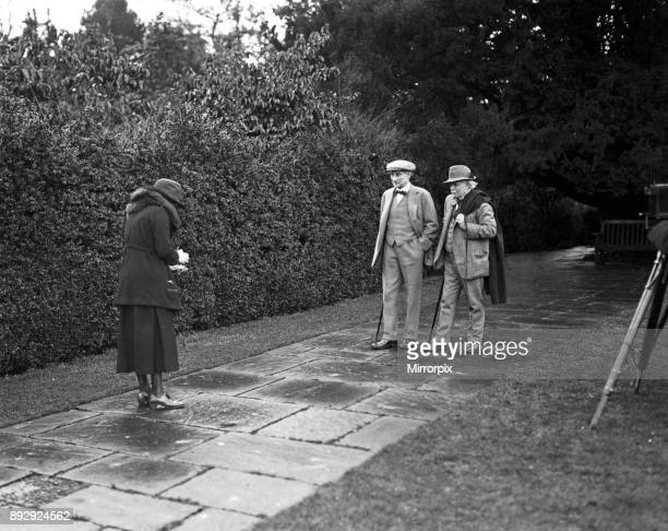 David Lloyd George at Chequers Court Lady Greenwood taking a photograph of Mr Lloyd George and Lord Reading the new Viceroy of India 10th January 1921