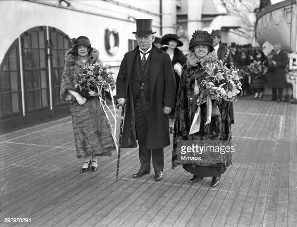 David Lloyd George politician arriving home from America with his wife Margaret Lloyd George and daughter Megan Lloyd George 9th November 1923