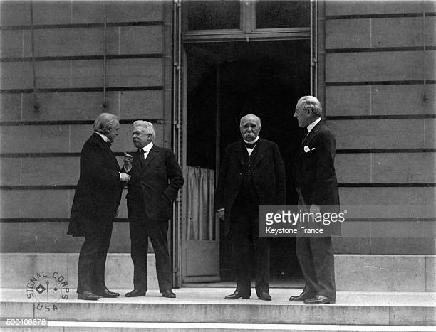 David Lloyd George Vittorio Emanuele Orlando Georges Benjamin Clemenceau and Thomas Woodrow Wilson the Big Four during the Peace Treaty of 1919 at...