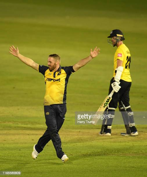 David Lloyd of Glamorgan appeals unsuccessfully for the wicket of Ian Cockbain of Gloucestershire during the Vitality Blast match between Glamorgan...