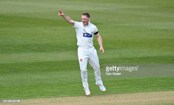 David Lloyd of Glamorgan appeals unsuccessfully for the wicket of Tom Clark of Sussex during day two of the LV= Insurance County Championship match...