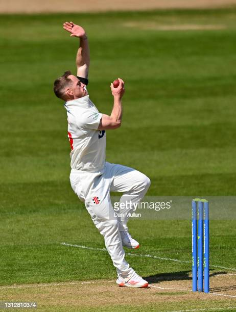 David Lloyd of Glamorgan bowls during day two of the LV= Insurance County Championship match between Glamorgan and Sussex at Sophia Gardens on April...