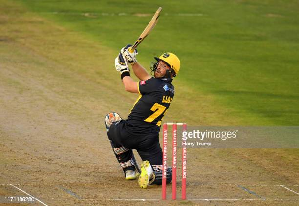 David Lloyd of Glamorgan plays a shot during the Vitality Blast match between Glamorgan and Hampshire at Sophia Gardens on August 30, 2019 in...