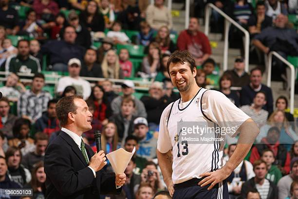 David Locke ask questions to Mehmet Okur of the Utah Jazz play during an open scrimmage at Energy Solutions Arena on December 17 2011 in Salt Lake...