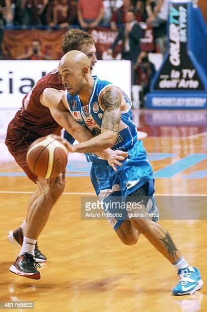 David Logan of Banco di Sardegna competes with Deividas Dulkys of Umana during the Lega Basket serie A1 match between Umana Reyer Venezia and Banco...