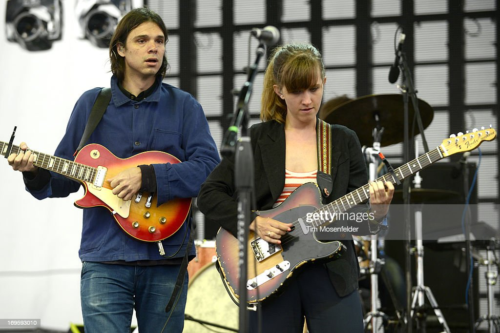 David Longstreth (L) and Amber Coffman of the Dirty Projectors perform as part of Day 4 of the Sasquatch! Music Festival at the Gorge Amphitheatre on May 27, 2013 in George, Washington.
