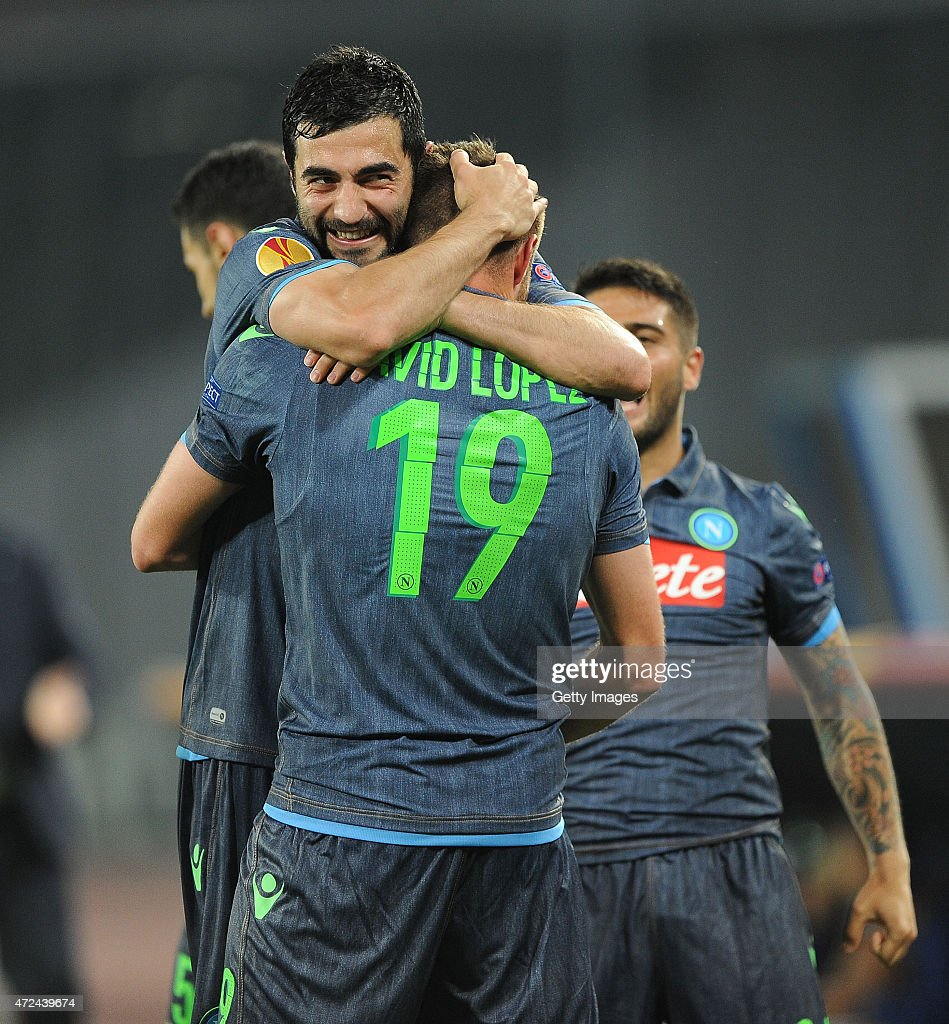 David Lopez and Raul Albiol of Napoli celebrate the goal 1-0 scored by David Lopez during the UEFA Europa League Semi Final between SSC Napoli and FC Dnipro Dnipropetrovsk on May 7, 2015 in Naples, Italy.