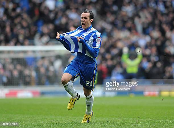 David Lopez of Brighton celebrates after he scores his team's second goal during the npower Championship match between Brighton Hove Albion and...