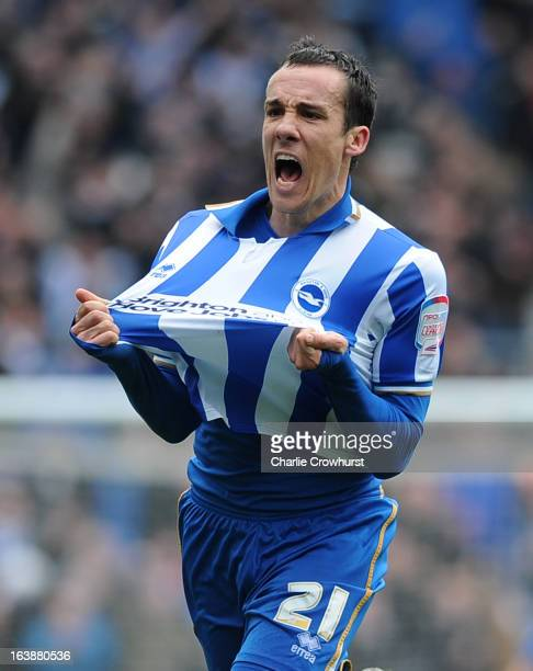 David Lopez of Brighton celebrates scoring the their second goal during the npower Championship match between Brighton Hove Albion and Crystal Palace...