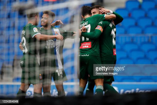 David Lopez of Espanyol celebrates 0-1 with Melendo of Espanyol, Didac of Espanyol during the La Liga Santander match between Real Sociedad v...
