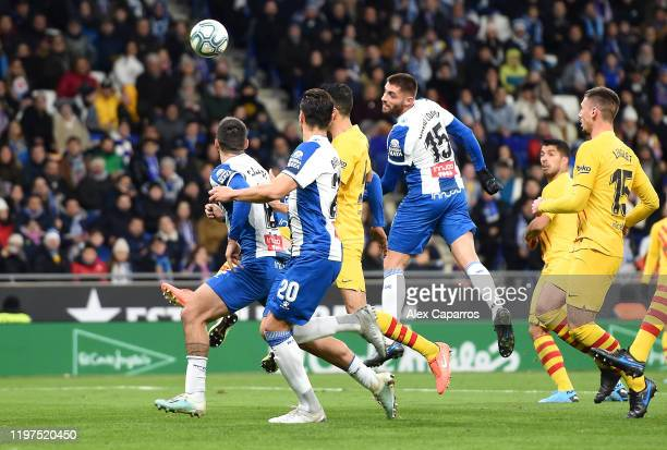 David Lopez of Espanyol scores his team's first goal during the La Liga match between RCD Espanyol and FC Barcelona at RCDE Stadium on January 04...