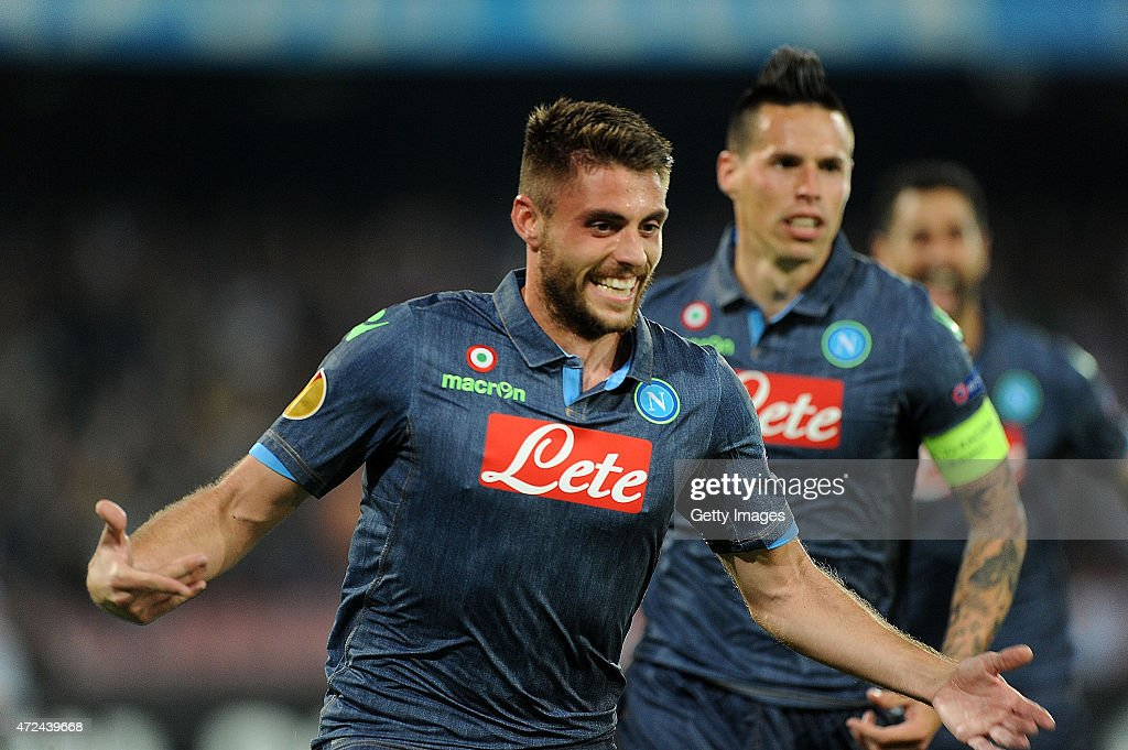 David Lopez of Napoli celebrates after scoring the goal 1-0 during the UEFA Europa League Semi Final between SSC Napoli and FC Dnipro Dnipropetrovsk on May 7, 2015 in Naples, Italy.