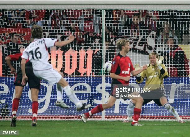 David Lopez of Osasuna scores Osasuna's second goal during the UEFA Cup Quarter Final 1st leg match between Bayer Leverkusen and Osasuna at the...