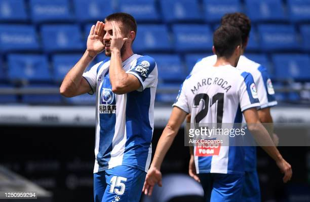 David Lopez of RCD Espanyol celebrates after scoring his team's first goal during the Liga match between RCD Espanyol and Levante UD at RCDE Stadium...