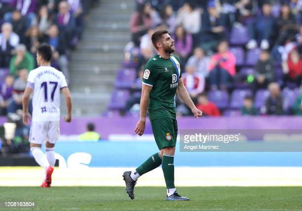 David Lopez of RCD Espanyol leaves the pitch after being shown a red card during the La Liga match between Real Valladolid CF and RCD Espanyol at...