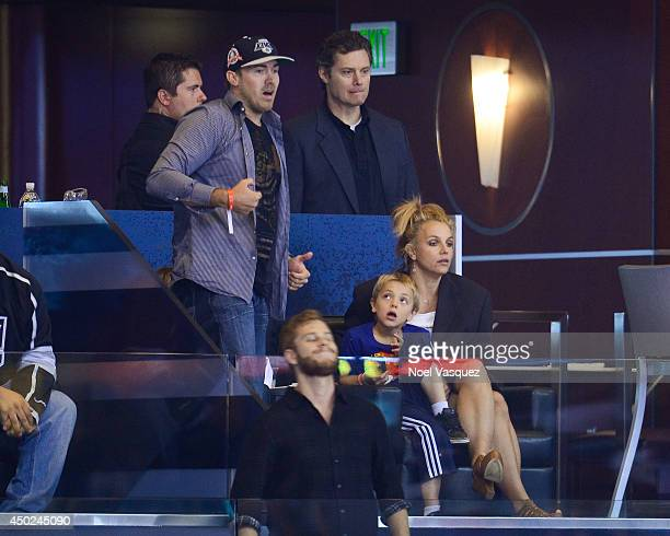 David Lucado, Jayden James Federline and Britney Spears attend a hockey game between the New York Rangers and the Los Angeles Kings in Game Two of...