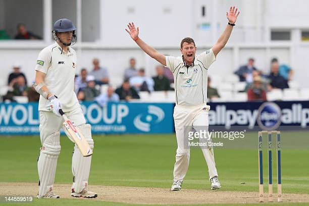 David Lucas of Worcestershire appeals successfully for the lbw wicket of Murray Goodwin during day one of the LV County Championship first division...