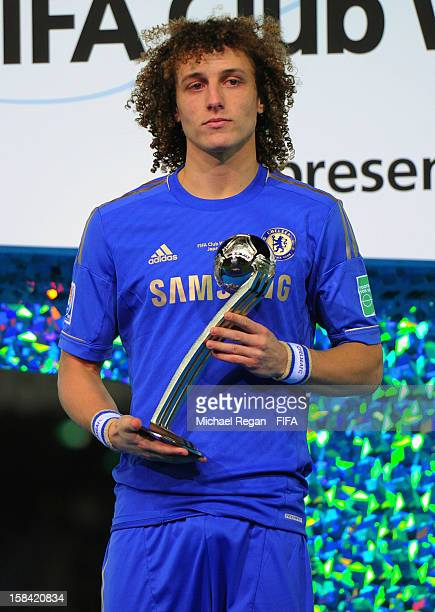 David Luis of Chelsea poses with the Adidas Silver Ball award after the FIFA Club World Cup Final Match between Corinthians and Chelsea at the...
