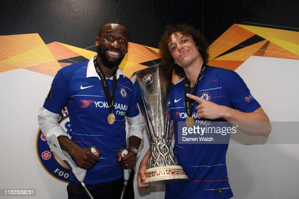 David Luiz and Antonio Ruediger of Chelsea poses for a photo with UEFA Europa League trophy in the changing room after the UEFA Europa League Final...