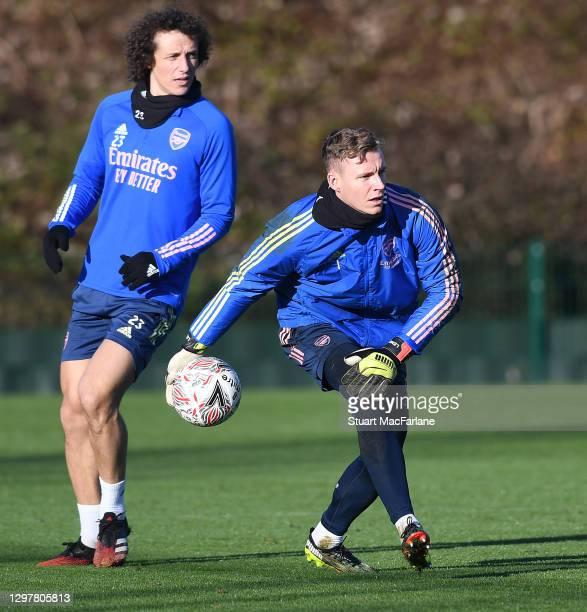 David Luiz and Bernd Leno of Arsenal during a training session at London Colney on January 22, 2021 in St Albans, England.