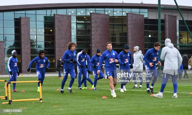David Luiz and Cesar Azpilicueta of Chelsea during an open training session at Chelsea Training Ground on November 26 2018 in Cobham England