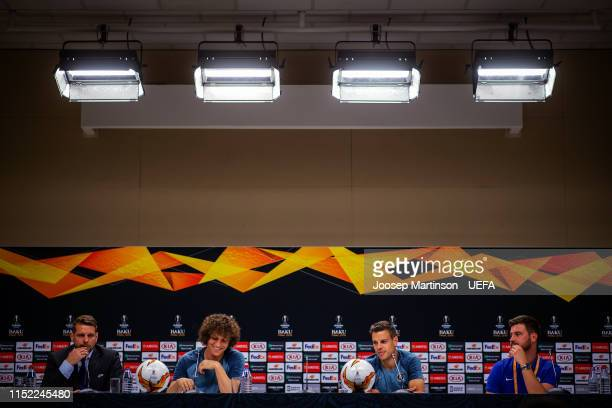 David Luiz and Cesar Azpilicueta of Chelsea speak to the media during press conference ahead of the UEFA Europa League Final between Chelsea and...