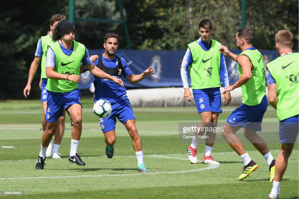David Luiz and Cesc Fabregas of Chelsea during a training session at Chelsea Training Ground on July 11, 2018 in Cobham, England.