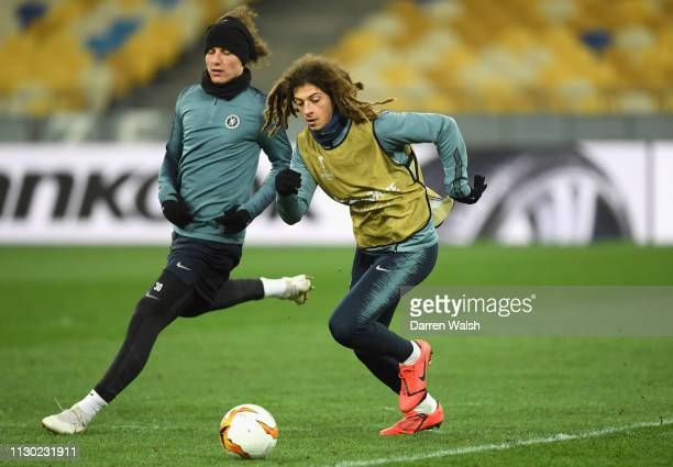 David Luiz and Ethan Ampadu of Chelsea during a training session at Valeriy Lobanovskyy Stadium on March 13 2019 in Kiev Ukraine