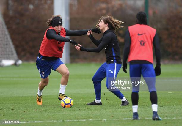 David Luiz and Ethan Ampadu of Chelsea during a training session at Chelsea Training Ground on February 2 2018 in Cobham England