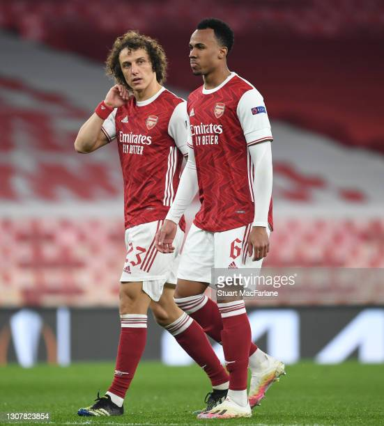 David Luiz and Gabriel of Arsenal during the UEFA Europa League Round of 16 Second Leg match between Arsenal and Olympiacos at Emirates Stadium on...