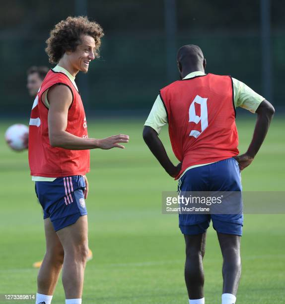 David Luiz and Nicolas Pepe of Arsenal during a training session at London Colney on September 18 2020 in St Albans England