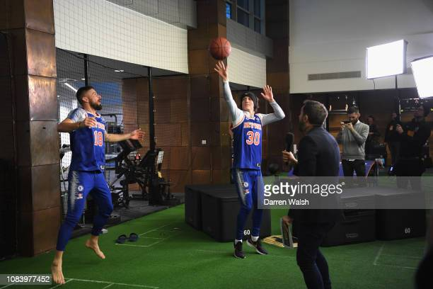 David Luiz and Olivier Giroud of Chelsea with Sam Matterface and Craig Mitch during a Chelsea 5th Stand Live show at Chelsea Training Ground on...
