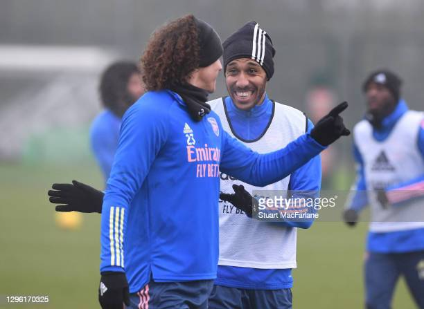 David Luiz and Pierre-Emerick Aubameyang of Arsenal during a training session at London Colney on January 13, 2021 in St Albans, England.