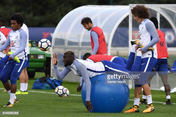 David Luiz and Tiemoue Bakayoko of Chelsea during a training session at Chelsea Training Ground on September 14 2017 in Cobham England