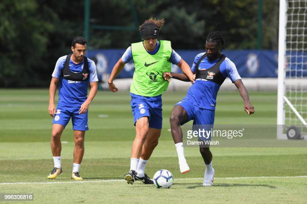 David Luiz and Tiemoue Bakayoko of Chelsea during a training session at Chelsea Training Ground on July 11 2018 in Cobham England