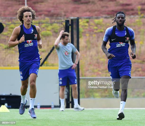 David Luiz and Tiémoué Bakayoko of Chelsea during a preseason training session at Chelsea Training Ground on July 8 2018 in Cobham England