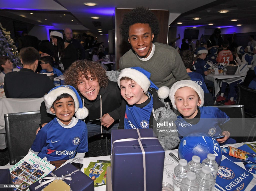 David Luiz and Willian of Chelsea at the Chelsea FC kids Christmas party December 7, 2017 in London, England.