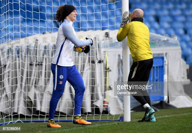 David Luiz and Willy Caballero of Chelsea during a training session at Stamford Bridge on November 17 2017 in London England